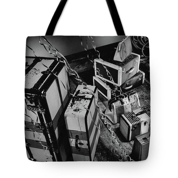 An Assortment Of Luggage With Confetti Falling Tote Bag