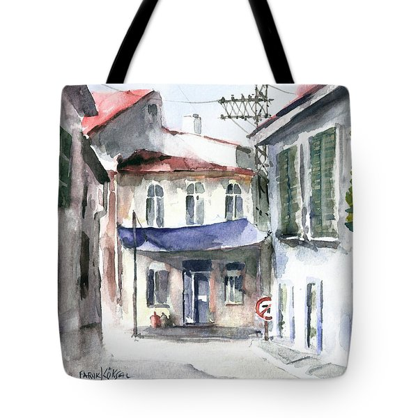 An Authentic Street In Urla - Izmir Tote Bag