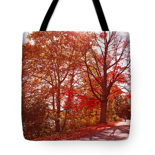 Tote Bag featuring the photograph An Autumn Walk Along The Charles River by Rita Brown