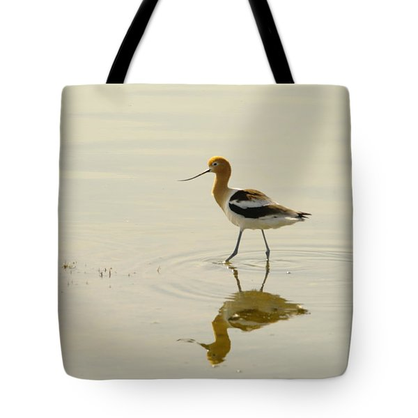 An Avocet Walking The Shore Tote Bag by Jeff Swan