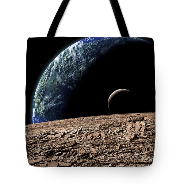 An Earth-like Planet In Deep Space Tote Bag by Marc Ward