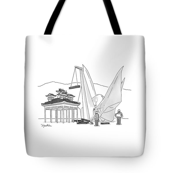 An Enormous Origami Crane Lifts Wood Tote Bag