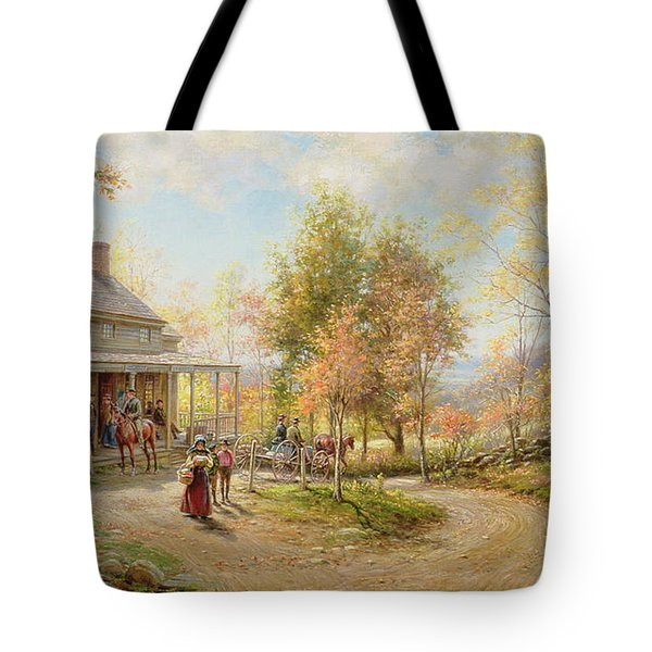 An October Day Tote Bag by Edward Lamson Henry