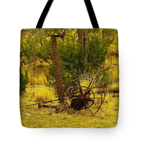 An Old Grass Cutter In Lincoln City New Mexico Tote Bag by Jeff Swan
