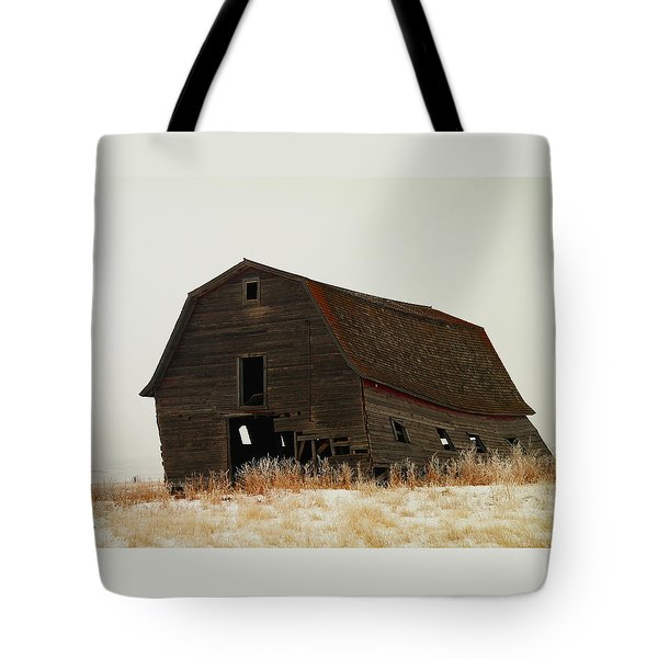 An Old Leaning Barn In North Dakota Tote Bag