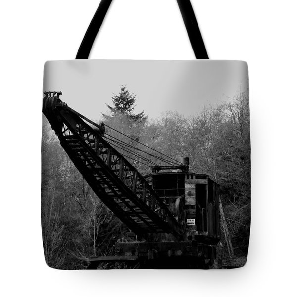 An Old Logging Crane In Black And White Tote Bag