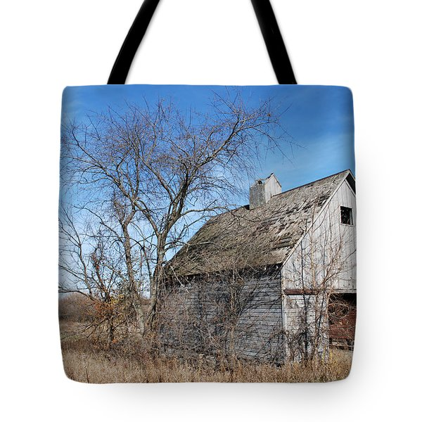 An Old Rundown Abandoned Wooden Barn Under A Blue Sky In Midwestern Illinois Usa Tote Bag by Paul Velgos