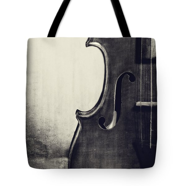 An Old Violin In Black And White Tote Bag by Emily Kay
