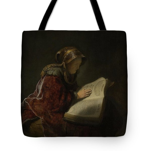 An Old Woman Reading, Probably The Prophetess Hannah, 1631 Oil On Panel Tote Bag