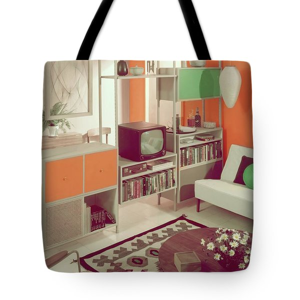 An Orange Living Room Tote Bag