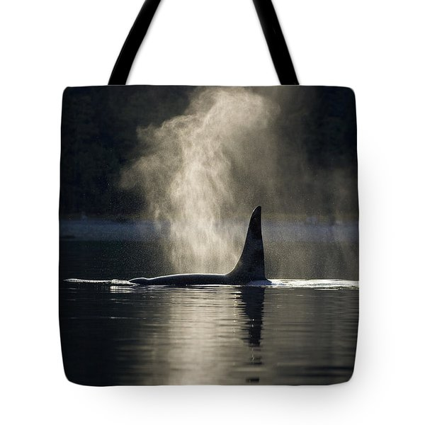 An Orca Whale Exhales Blows Tote Bag by John Hyde