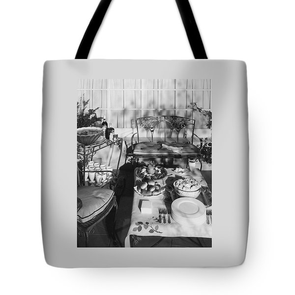 An Outdoor Dining Set Up Tote Bag