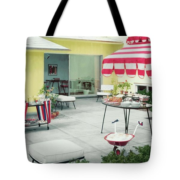 An Outside Area Set Up For A Party Tote Bag