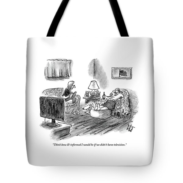 An Overweight Man Lazily Reclines On His Sofa Tote Bag