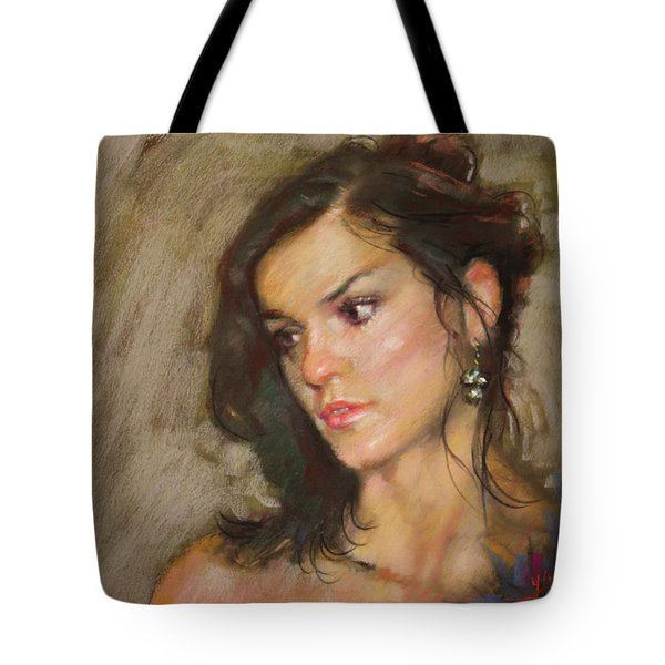 Ana With An Earring Tote Bag
