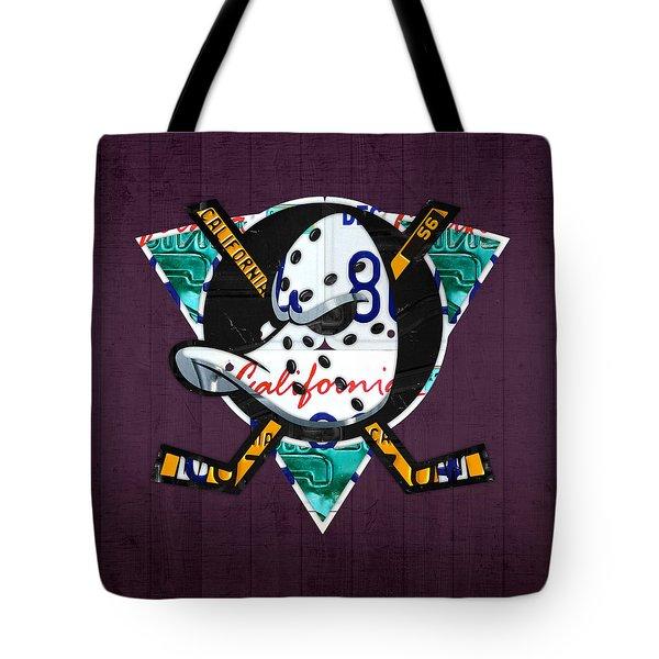 Anaheim Ducks Hockey Team Retro Logo Vintage Recycled California License Plate Art Tote Bag by Design Turnpike