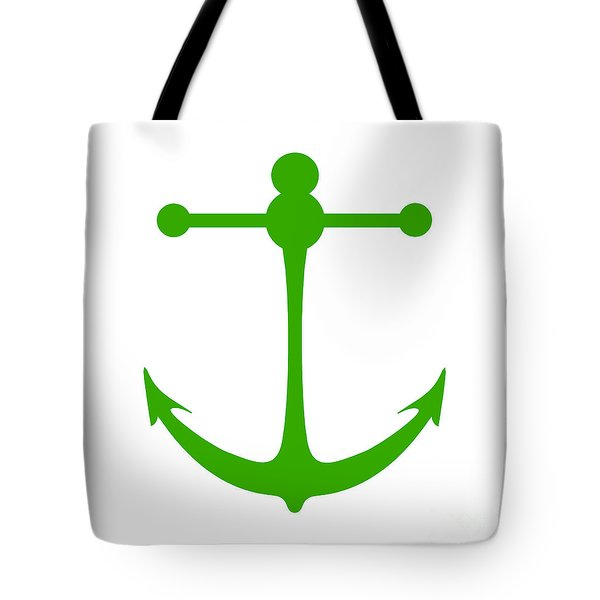 Anchor In Green And White Tote Bag