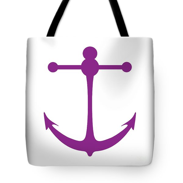 Anchor In Purple And White Tote Bag