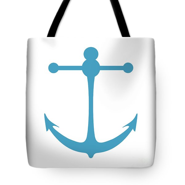 Anchor In Turquoise And White Tote Bag