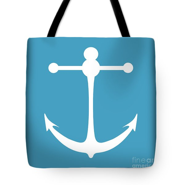 Anchor In White And Turquoise Blue Tote Bag