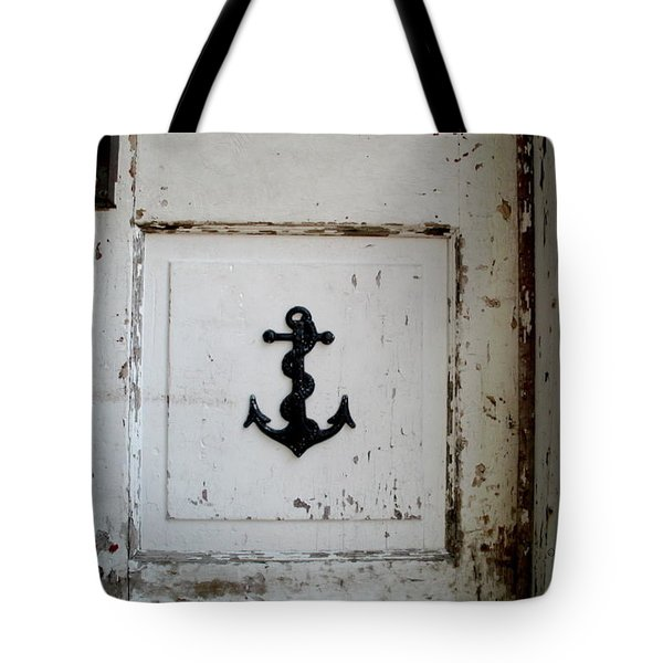 Tote Bag featuring the photograph Anchor On Old Door by Kathy Barney
