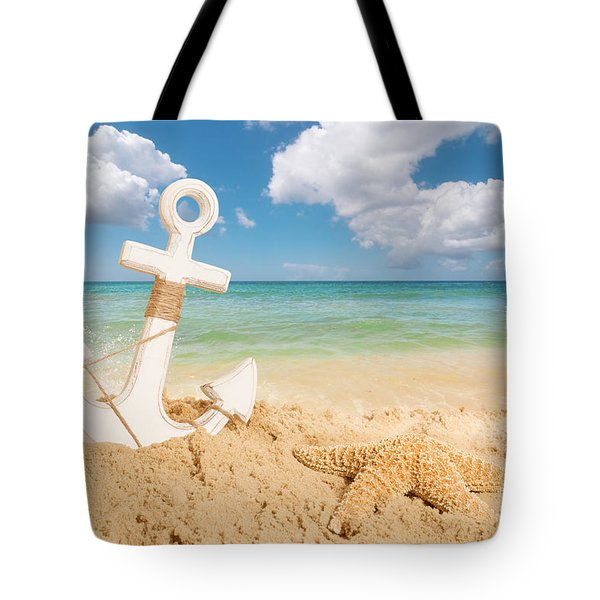 Anchor On The Beach Tote Bag
