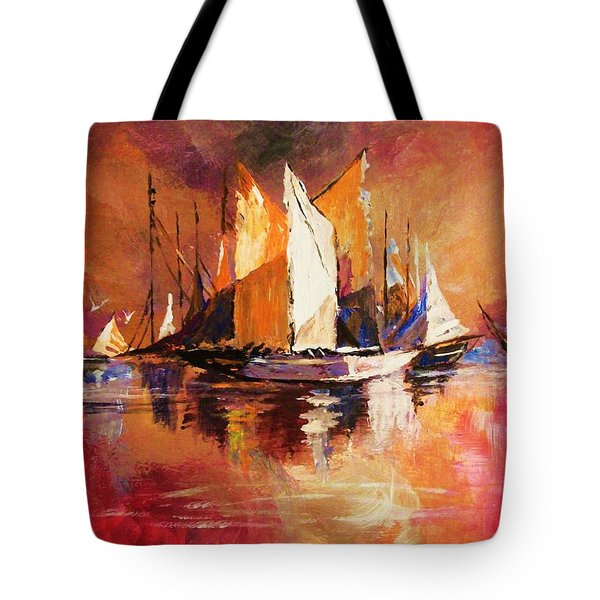 Anchored At Sunset Tote Bag