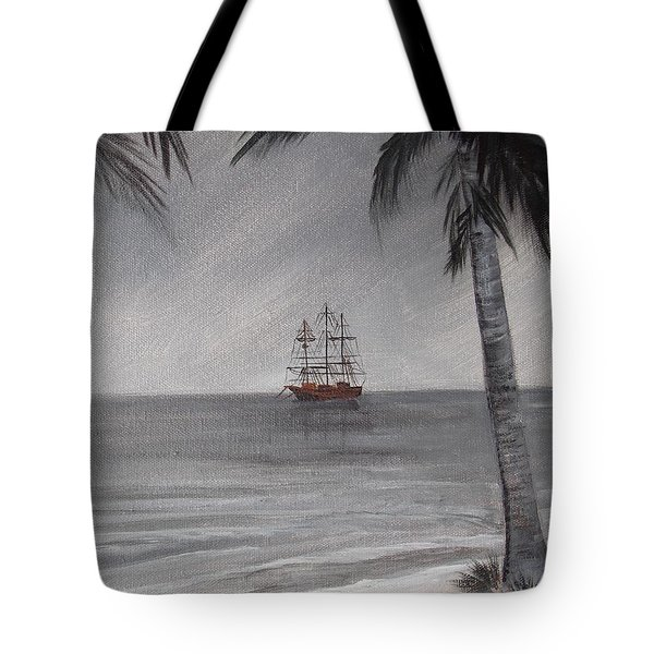 Tote Bag featuring the painting Anchored For The Night by Virginia Coyle