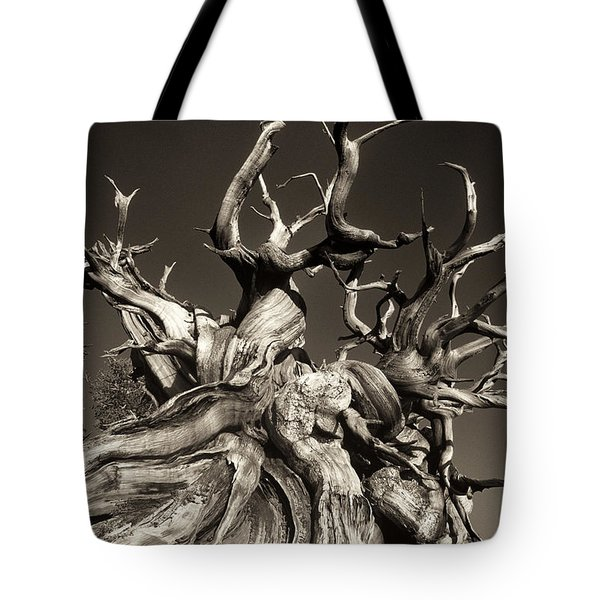 Tote Bag featuring the photograph Ancient Bristlecone Pine In Black And White by Dave Welling