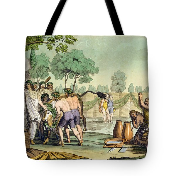 Ancient Celts Or Gauls Sacrificing Tote Bag by Vittorio Raineri