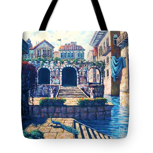 Tote Bag featuring the painting Ancient City by Cheryl Del Toro
