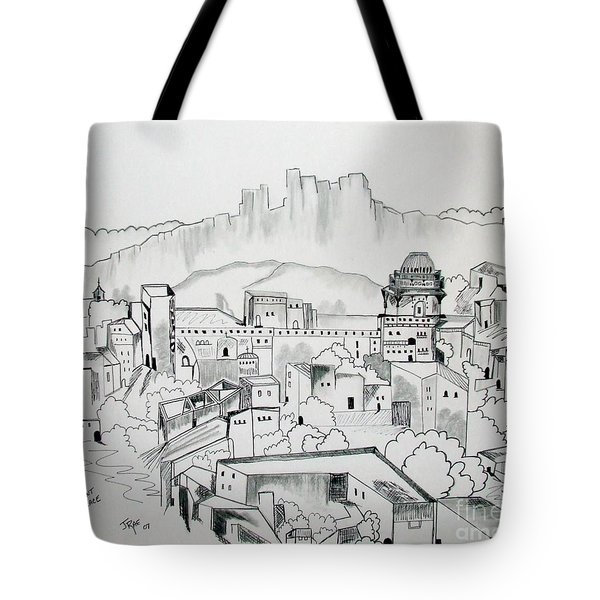 Tote Bag featuring the drawing Ancient City In Pen And Ink by Janice Rae Pariza