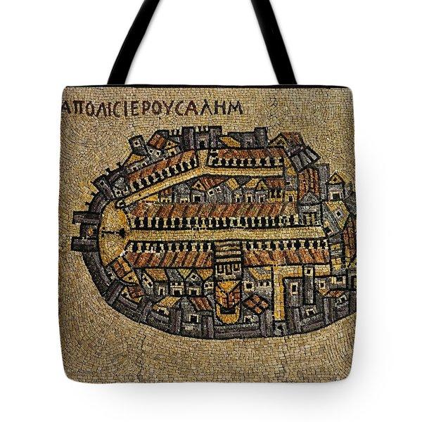Ancient Jerusalem Mosaic Map Color Framed Tote Bag
