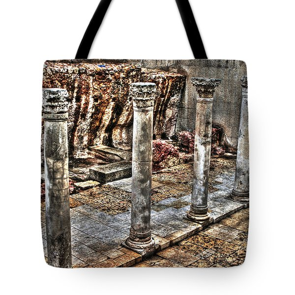 Tote Bag featuring the photograph Ancient Roman Columns In Israel by Doc Braham