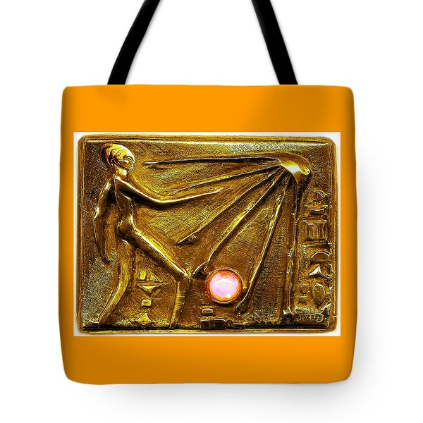 Tote Bag featuring the relief Sun God Worship  by Hartmut Jager