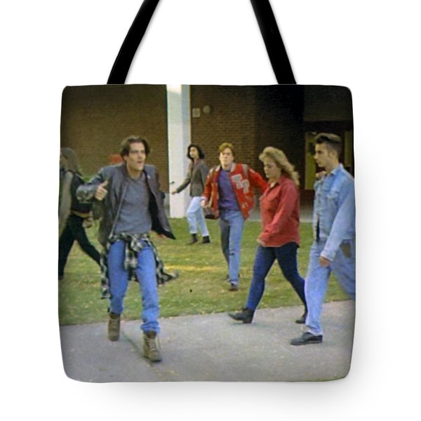 Tote Bag featuring the painting And I Looked Down At My Shoes . . . by Luis Ludzska