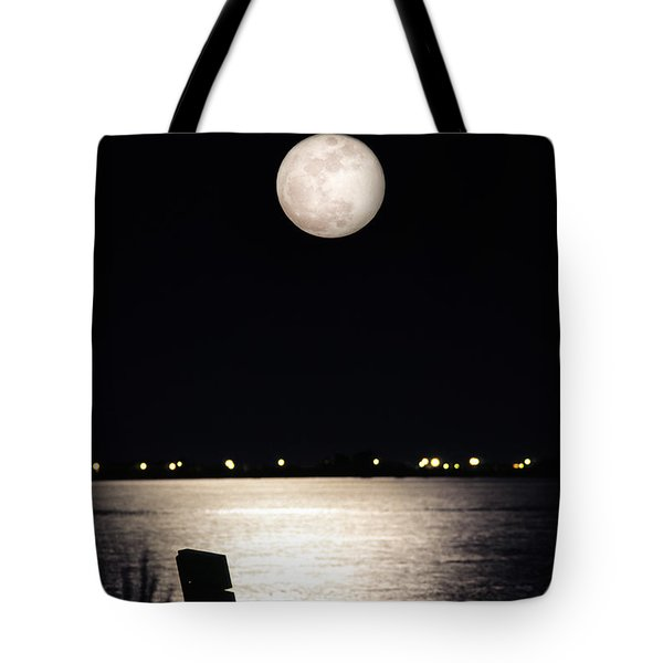 And No One Was There - To See The Full Moon Over The Bay Tote Bag by Gary Heller