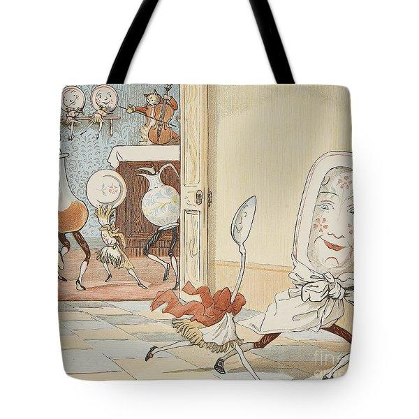 And The Dish Ran Away With The Spoon Tote Bag by Randolph Caldecott