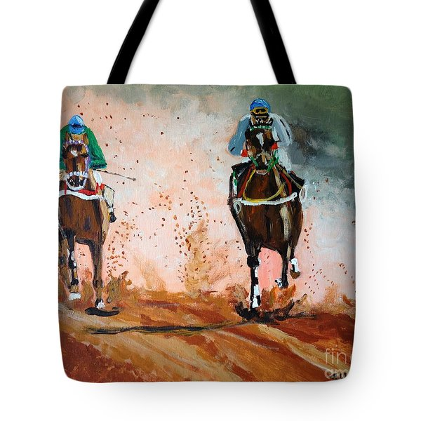 Tote Bag featuring the painting And The Winner Is by Judy Kay