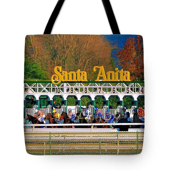 And They're Off At Santa Anita Tote Bag by Nadalyn Larsen