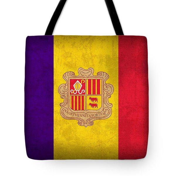 Andorra Flag Vintage Distressed Finish Tote Bag by Design Turnpike