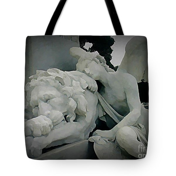 Angel And Lion Statue Tote Bag by John Malone