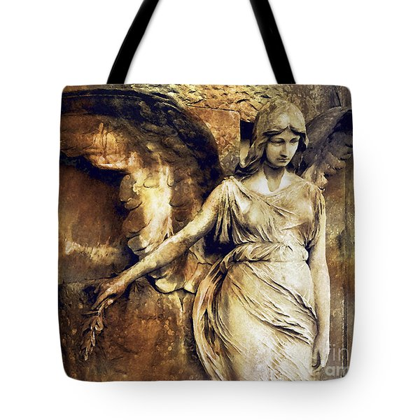 Angel Art - Surreal Gothic Angel Art Photography Dark Sepia Golden Impressionistic Angel Art Tote Bag by Kathy Fornal