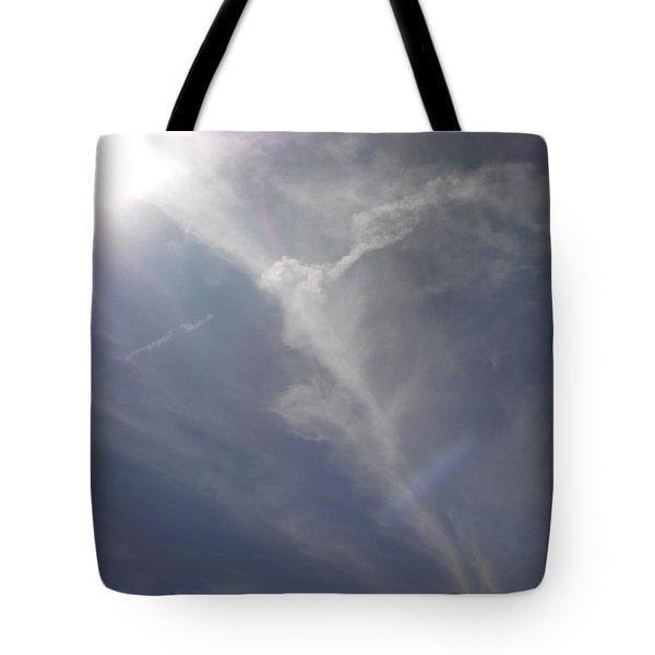 Angel Holding Light Tote Bag by Deborah Moen
