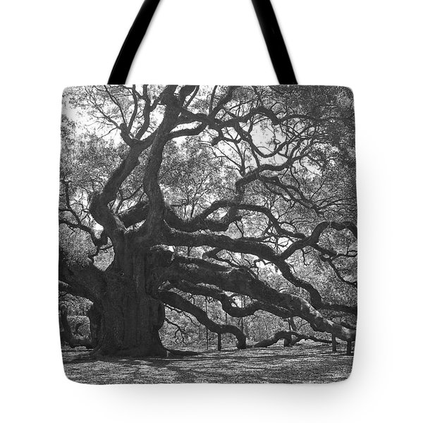 Angel Oak II - Black And White Tote Bag