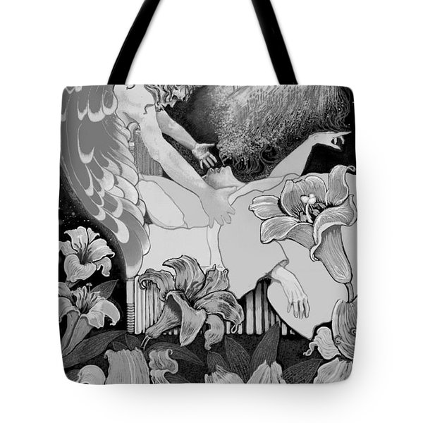 Tote Bag featuring the digital art Angel Of Death Vision by Carol Jacobs