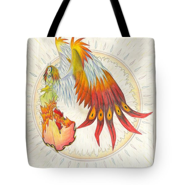 Tote Bag featuring the painting Angel Phoenix by Shawn Dall