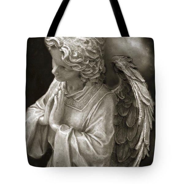 Angel Praying - Inspirational Angel Art Dreamy Surreal Angel In Prayer  Tote Bag