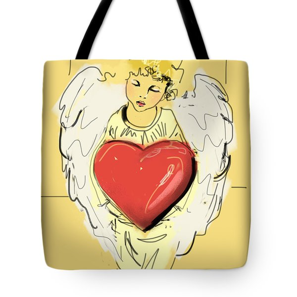 Tote Bag featuring the painting Angel Red Heart by Go Van Kampen