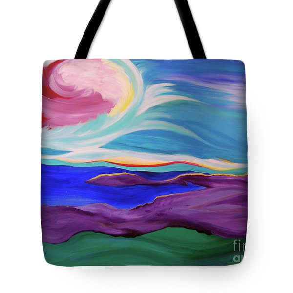 Tote Bag featuring the painting Angel Sky by First Star Art